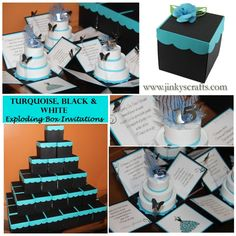 BLACK, TURQUOISE & WHITE QUINCEANERA POP UP INVITATIONS, SWEET 16 UNIQUE INVITATIONS, BAT MITZBAH BOXED INVITATIONS