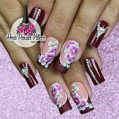 Modelos de uñas Pretty Nail Designs, Diy Nail Designs, Colorful Nail Designs, Violet Nails, Pink Nails, New Nail Art, Nail Art Diy, Cute Toe Nails, Pretty Nails