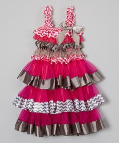 Love this Pink & Gray Zigzag Ruffle Dress - Infant & Toddler on #zulily! #zulilyfinds