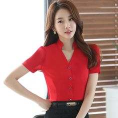 image Formal Tops, Classy Girl, V Neck Blouse, Short Tops, Hot Dress, Korean Women, Business Fashion, Fashion Outfits, Womens Fashion