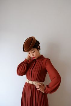 Christmas in Brown chocolate, Japanese vintage dress, XS - S