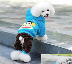 #Priceabate Autumn Winter Cute Cartoon Pet Dog Clothes Monkey Warm Soft Coat Hoodie Jumpsuit - Buy This Item Now For Only: $8.99