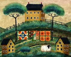 Country Folk Art   COUNTRY QUILT MUSTARD HOUSE SHEEP FOLK ART PRINT