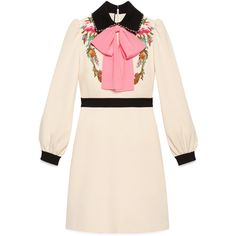 Gucci Viscose Jersey Dress (€1.830) found on Polyvore featuring women's fashion, dresses, new dresses, ready-to-wear, women, embroidery dresses, sleeved dresses, flower applique dress, gucci dress and pink beaded dress