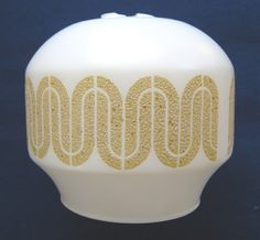 Retro glass lampshade (white with golden yellow textured pattern), c.1960s-70s (SOLD) - www.vanishederas.com