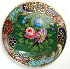 Antique French Enamel Button Hand Painted Flowers on Green w Champleve Border in Collectibles, Sewing Buttons, Metal Button Art, Button Crafts, Gemstone Brooch, Crazy Patchwork, Vintage Buttons, Metal Buttons, Sewing Accessories, Sewing A Button, Sewing Notions