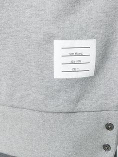 Thom Browne Center-Back Stripe Jersey Pullover - Farfetch Crew Neck Sweatshirt, Pullover, Striped Jersey, Menu Design, Deconstruction, Thom Browne, Grosgrain, Label, Stripes