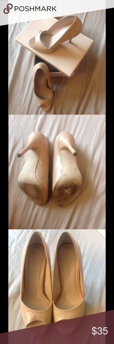 """BCBGENERATION Heels Stunning nude opened toe BCBGeneration Izzie2 heels. 4"""" height. Great used conditions. Flaws shown in pictures. Gorgeous with any outfit. BCBGeneration Shoes Heels"""