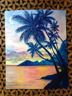 Island Calm, Framed Original Watercolor painting,Tropical Hawaiian Sunset, Palm Trees Fine Art Painting - by artist Christie Marie on Etsy, $120.00
