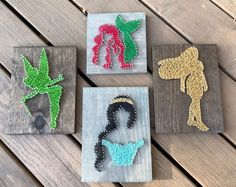 Items similar to Princess Minis String Art - - business days to process) Wall Decor - Wall Hanging on Etsy Disney String Art, Nail String Art, String Crafts, Resin Crafts, String Art Templates, String Art Patterns, Japanese Embroidery, Flower Embroidery, Embroidered Flowers