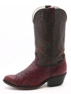 Durango Mens Cowboy Boots Size 8.5 EE Burgundy Western Vintage Pointed Toe USA #Durango #CowboyWestern