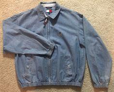 Vintage Men's TOMMY HILFIGER Full Zip Denim Bomber Jacket, Sz L  | eBay
