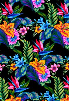 A hand painted tropical, using gouache, was painted in bright colors, making for a festive...