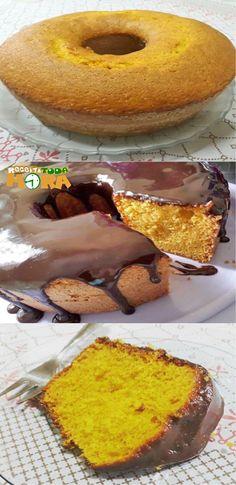 Bolo de Cenoura Fácil #BolodeCenouraFácil #BolodeCenoura #Receitatodahora Bolo Chiffon, Chocolate, Doughnut, Easy Meals, Cupcakes, Menu, Cream, Desserts, Recipes