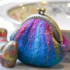 Wool Felted Coin Purse Stitch Marker Pouch Blue and Pink 12788 Felt Pouch, Felt Purse, Coin Purse, Wet Felting, Needle Felting, Frame Purse, Dyed Silk, Knitting Accessories, Handmade Felt