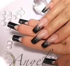Sculpted black french nails. Extended nail bed. C curve. Elegant