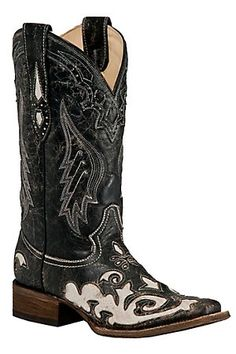 Corral Ladies Black with White Lizard Inlay Square Toe Western Boots