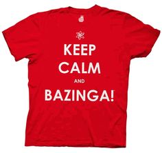 The Big Bang Theory Keep Calm And Bazinga Red Mens T-shirt