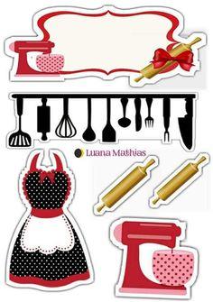 Topper Para Confeitera   Bolo Chá De Cozinha, Chá De Printable Stickers, Planner Stickers, Scrapbook Recipe Book, Cupcake Pictures, Diy And Crafts, Paper Crafts, Recipe Cards, Print And Cut, Party Printables