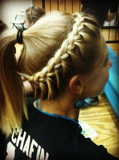 Crown braided ponytail for sports.