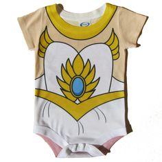 She-Ra Baby Onesie Parody Costume - Newborn, Infant, Toddler, Princess, He-man, Cosplay, Nerdy Gift, Retro, Baby Girl Superhero, Geek Baby by NerdyWithKids on Etsy https://www.etsy.com/listing/222944125/she-ra-baby-onesie-parody-costume