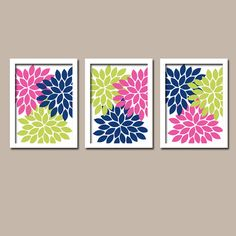 Lime Green Navy Blue Pink Flower Burst Dahlia Artwork Set of 3 Trio Prints Decor Abstract Picture Bedroom WALL ART Bathroom