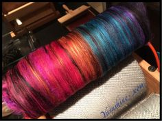 "Carding up some bliss... Yarnshine ""Pavone""  www.etsy.com/shop/yarnshine"