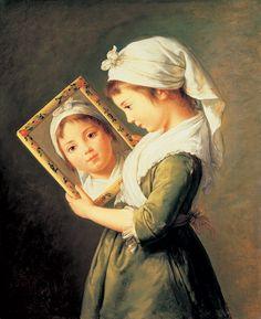 Élisabeth Louise Vigée Le Brun, Jeanne Julie Louise Le Brun se regardant dans un miroir, 1787, Collection particulière
