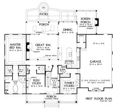 Check out the first floor plan of The Blarney home plan 1424.