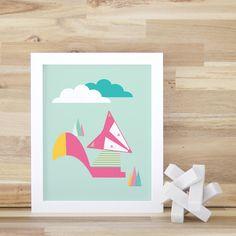 Fox Art Print, Pink, Teal, Kids Decor, Art and Decor, Pink Fox, Woodland Art Print Fox Wall Art, Pink Fox. Short Fox Print - Kids Wall Decor by trendypeas on Etsy https://www.etsy.com/listing/155646058/fox-art-print-pink-teal-kids-decor-art