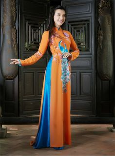 Vietnamese Ao Dai with trim at neckline. Could one of the design options include trim vs. no trim?