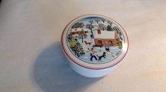 "Villeroy & Boch Porcelain Trinket Box, Laplau NAIF CHRISTMAS, 3 1/8""D, Red Rim,  #VilleroyBoch"
