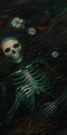 Fantasy Art Photo: Art by Bao Pham/thienbao Memento Mori, Skeleton Art, Vanitas, Skull And Bones, Horror Art, Skull Art, Drawing, Dark Art, Crane