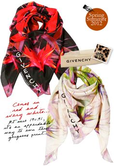 Givenchy Fall Winter 2012 Mens 'Birds Of Paradise' Scarves