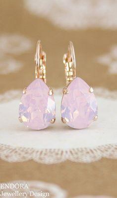 Rose quartz pink crystal earrings | pantone color of the year - Rose quartz | rose quartz wedding | Swarovski rose water opal | pink opal earrings | www.endorajewellery.etsy.com
