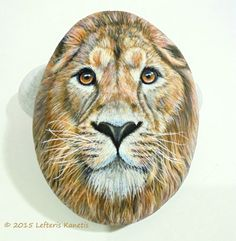 Hand Painted Rock Lion Portrait   Is Painted with by KanetisStones