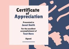A modern Pink And Blue art certificate of appreciation. To enter your own relevant details simply click on template to edit! Art Certificate, Certificate Of Appreciation, Blue Art, Templates, Modern, Pink, Blue Artwork, Stencils, Trendy Tree