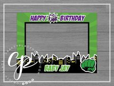 Party Photo Frame, Photo Frame Prop, Diy Photo Booth, Photo Props, Hulk Party, Superhero Party, Hulk Birthday Parties, Birthday Cards, Party Pictures