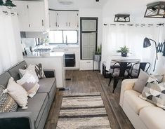 What a relief to be DONE 🖤 I won't move in until after the bunkhouse is with it's new family though. So until then, I'll keep sneaking over… Rv Living, Tiny Living, Living Room, Rv Interior, Interior Design, Interior Modern, Kitchen Interior, Tiny House, The Bunkhouse