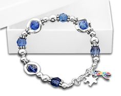 Blue Beaded Autism Awareness Bracelet