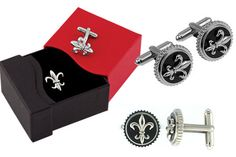 Titanium and Sterling Silver Fleur-de-lis Cufflinks #Saints #New Orleans #BettyWhiteJewelers #Houma