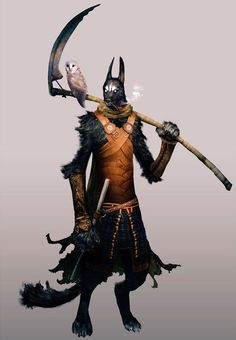 This seems to be a cool interpretation of Anubis, the Egyptian god of the death, as an armored, mystical jackal-creature bearing the medieval European portrayal of death's, the Grim Reaper, tool/weapon, a scythe, and another symbol of the death, the barn owl. Cool combination of cultures, and the art itself is extraordinarily detailed