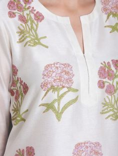Ivory-Pink Block Printed Chanderi Kurta Chudidhar Neck Designs, Neck Designs For Suits, Neckline Designs, Dress Neck Designs, Sleeve Designs, Blouse Designs, Salwar Designs, Simple Kurti Designs, Kurta Designs Women