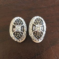 Black & Silver Clip On Earrings In perfect condition. Jewelry Earrings