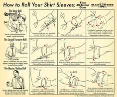 Idée et inspiration Look pour homme tendance 2017 Image Description How to Roll Your Shirt Sleeves: Your Visual Guide – The Art of Manliness Mens Wardrobe Essentials, Men's Wardrobe, Art Of Manliness, Sharp Dressed Man, Men Style Tips, Men's Grooming, Gentleman Style, Modern Gentleman, Mode Style