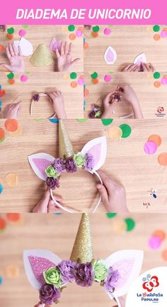 Best 12 Unicorn Headbands with free template. Unicorn Themed Birthday Party, Birthday Diy, Birthday Party Decorations, Diy Unicorn Headband, Unicorn Crafts, Diy Crafts For Kids, Ideas Vintage, Lany, Diy Mask