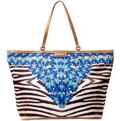 Stella & Dot Capri Tote - Jeweled Zebra (£63) ❤ liked on Polyvore featuring bags, handbags, tote bags, zebra purse, jeweled purse, woven purse, woven tote y camel purse