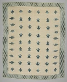 Coverlet / Couvre boutonné. Charlevoix County, Québec. 1875 - 1900. Wool Techniques: Twill woven; boutonné; hand-sewn.