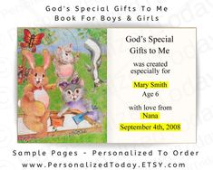 God's Special Gifts To Me Personalized Children's   Etsy Personalised Childrens Books, Girl God, Love You Very Much, Religious Books, Books For Boys, Prayer Book, Book Girl, Mom And Dad, Special Gifts