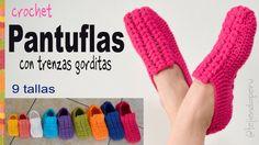 Zapatos o pantuflas UNISEX con trenzas gorditas a crochet en 9 tallas - ...